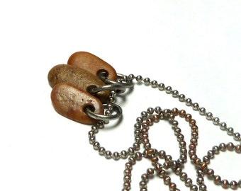 Beach Stone Jewelry Charm Beads Lake Rock Naturals Pebble Pendant Earring Triple Set Golden Autumn Collection Burnt Leaf Mix TINY TRIO
