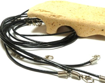 ADD a LEATHER Cord Necklace Beach Stone Hanger Rock Supplies Pebble diy Findings Black Leather Lobster Clasp 18 Inch Adjustable