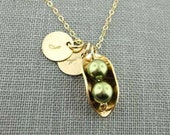 Two Peas in a Pod Necklace with Two Initial Charms - 14K Gold Filled and Swarovski Crystal Pearls (NP014)