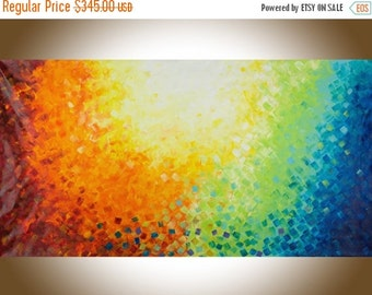 "Extra Large wall art 60""Colourful abstract art red yellow orange blue green purple original art home decor art ""Warm autumn""by QiQiGallery"