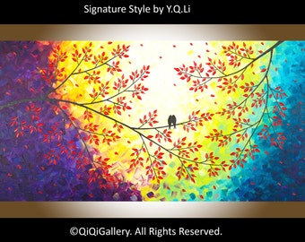 "Original love birds painting acrylic painting Modern Wall art home office decor red leaves ""Autumn Colours"" by QIQIGALLERY"