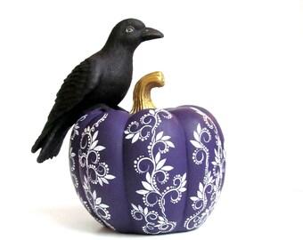 Crow On a Pumpkin Crow and pumpkin Purple pumpkin with a black crow raven bird Thanksgiving Halloween Pumpkin Raven decor