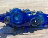 """RESERVED For Toni Cobalt Blue Glass Tobacco Pipe with Textural Bumps and Loop 3"""" LONG"""