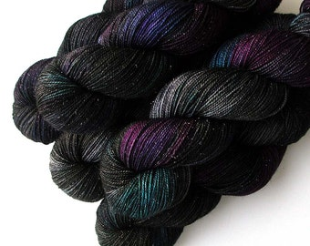 Sock Yarn Glimmer Superwash Merino and Nylon Fingering Yarn - Dance All Night, 430 yards