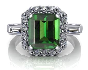 Green Tourmaline Cocktail Ring with Diamond Halo, Emerald Cut
