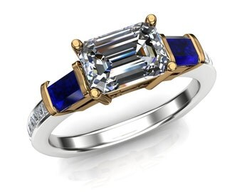 Diamond Engagement Ring with Emerald Cut Sapphire Side Stones, Bicolor