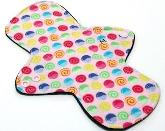 "Reusable Cloth Menstrual pad -9 inch MEDIUM/REGULAR flow -bamboo/cotton core - Windpro -  cotton flannel top in ""Gumdrops"""