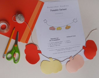 Autumn Pumpkins Halloween Garland PDF Tutorial - Festive Paper Decoration Project - Instant Download DIY Holiday Project A4 or Letter pages