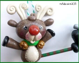 New Polymer Clay Skating Reindeer Ornament OOAK