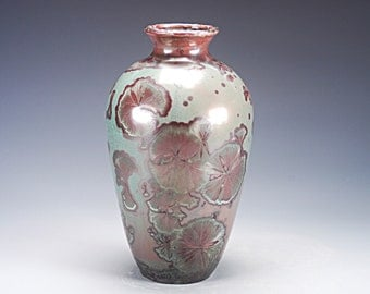 Ceramic Vase - Red, Green - Crystalline Glaze on High-Fired Porcelain - Hand Made Pottery - FREE SHIPPING - #A-1-3283