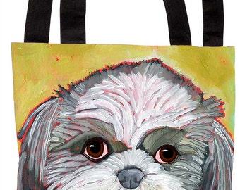 Shih tzu canvas tote bag, shih tzu beach bag, shih tzu fashion bag, shih tzu customizable canvas bag