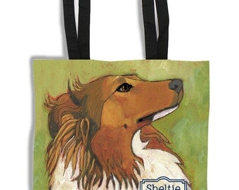 Shetland Sheepdog canvas tote bag, purse