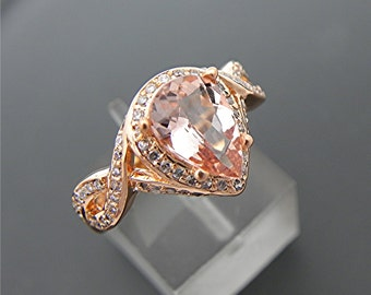 AAAA Stunning Peach Morganite Pear shape   10x7mm  1.49 Carats   in 14K Rose gold diamond halo engagement ring (.50 carats) 1351