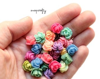 20pc set of pairs / ruffled rose resin flower cabochon mix / flat back flower embellishments / 11mm cabs / small flower pairs for earrings