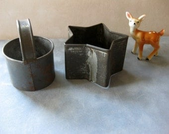 Vintage Rustic, Primitive Cookie Cutters (2), Star and Biscuit
