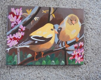 VINTAGE BIRD PAINTING, yellow, gold finches, bright, cheery