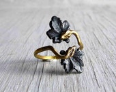 Double Snake Ring Ouroboros Adjustable Onyx Silver and Golden Bronze C&S