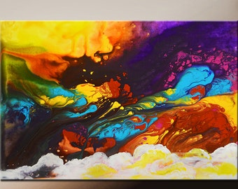 Abstract Canvas Art Painting Canvas 36x24 Original Modern Contemporary Paintings by Destiny Womack - dWo -  Beyond the Clouds