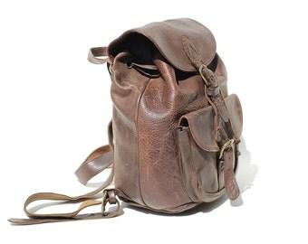 Vintage Dark Brown Leather Backpack