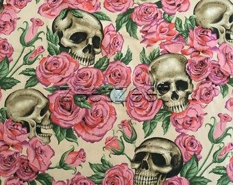 Alexander Henry RESTING IN ROSES Tea Cotton Quilt Fabric - by the Yard, Half Yard, or Fat Quarter Fq Pink Tan