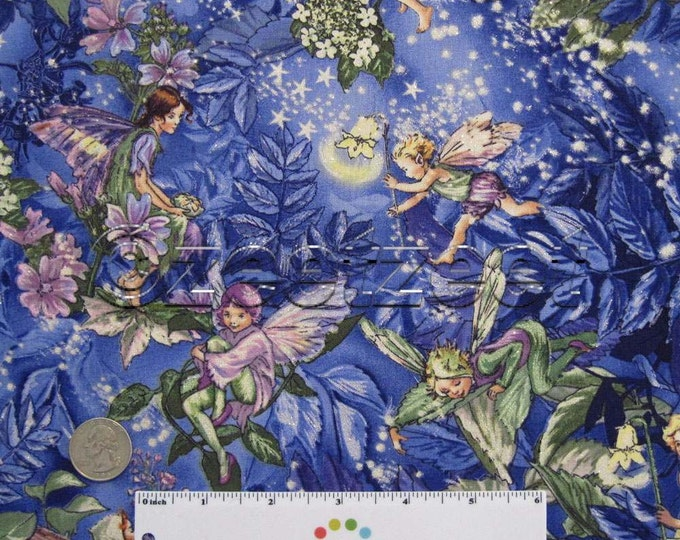 Michael Miller NIGHT FAIRIES Purple with Silver Glitter Quilt Fabric by Half Yard Cicely Mary Barker Fairy