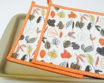 Fall Potholders, Quilted Potholders, Fabric Potholders, Set of 2, Fall Hotpads, Pot Holder, Autumn Potholders, Hostess Gift