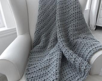 Chunky wool throw blanket ~ Gray