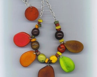 Tagua and Açaï Statement Necklace . Green brown red yellow orange nature Jewels . Sterling silver - Tropical Fruits by enchantedbeas on Etsy