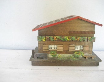 Vintage Wood House Secret Hidden Storage and Music Box- Made in Japan