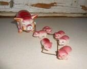 Vintage Pig,  Porcelain Sow with Piglets, Vintage Pink Pigs