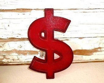 Vintage Red Marquee Dollar Sign, Plastic Letter, Red Letter,