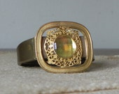 Vintage cuff bracelet gold with yellow gold accent stone - handmade with filigree work