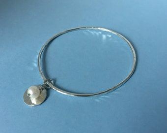 Hammered Silver and Pearl Charm Bangle