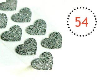 LAST Glitter Heart Silver {54} Seals Stickers Valentine Wedding Event Engagement Invitations Gift Envelopes Favours Sparkle DIY Supplies