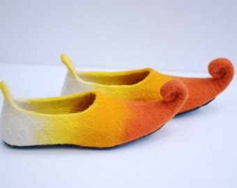 Fairy  elven  gnome shoes felted slippers from wool in orange/yellow/ white Custom made pair especialy for you