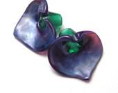 PURPLE LILIES, Lampwork Glass Flower Bead Pair, Calla Lily, handmade jewelry supplies sra