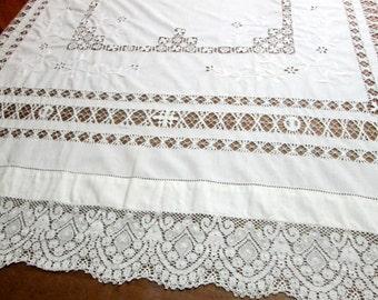 Antique Lace Tablecloth Vintage White Table Linens Cottage Style