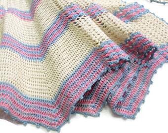 Vintage Apron Hand Crocheted Chevron Crochet Kitchen Linens