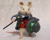 Christmas Mouse Wool Needle Felted Soft Sculpture OOAK Design Poseable Glass Eyes Handmade Top Hat and Coat with Cane  Ready to Ship