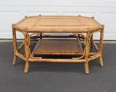 r e s e r v e d Tiger Stripe Bamboo Octagon Coffee Table