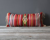 Pink Mexican Saltillo Weaving Upholstered Bolster Pillow
