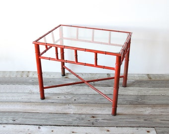 Large Red Metal Faux Bamboo Table