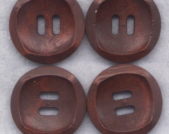Chocolate Brown Buttons Simple Classic Wooden Buttons 24mm (1 inch) Set of 4 /BT391