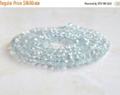 Clearance SALE Aquamarine Gemstone Rondelle Blue Faceted 4.5mm 65 beads 1/2 Strand