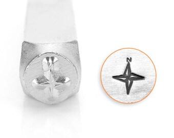 Compass Rose Design Stamp, Metal Stamp, Carbon Steel Stamp, ImpressArt Stamp, SC1519-L- 6MM, Ocean Stamp, Bopper, Windrose, Nautical Chart