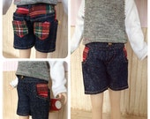 SALE Dark denim/tartan short for Blythe doll