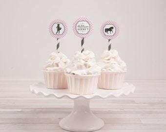 DIGITAL Pretty Little Cowgirl Cupcake Toppers - Pink, White Polka Dot w Decorative Border, Horse, Cowgirl Silhouette