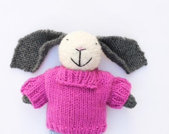 Bunny rabbit cuddly toy, cute bunny plush, soft toys, gifts for children, knitted toys, handmade toy, stuffed toy, stuffed animal, softie