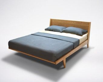 Modern Platform Bed Cherry Mid Century Modern Danish Solid Wood Organic Finish twin full double queen king