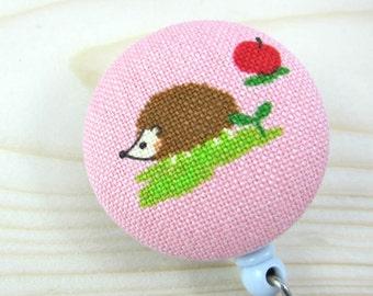 Badge Reel | Retractable Badge Holder, Nurse Badge Reel, ID Badge Holder, Badge Clip | Hedgie on Pink
